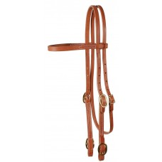 BROWBAND HEADSTALL WITH BUCKLES, 5/8 INCH, HARNESS LEATHER