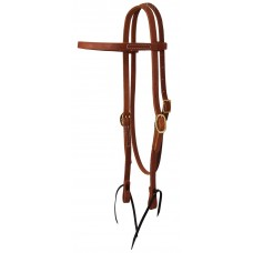 BROWBAND HEADSTALL WITH TIES, OILED HARNESS LEATHER