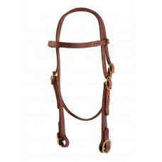 BROWBAND HEADSTALL WITH BUCKLES, OILED HARNESS LEATHER