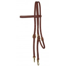 BROWBAND HEADSTALL WITH SNAPS, OILED HARNESS LEATHER
