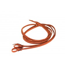 "OILED HARNESS LEATHER REINS WITH WATER LOOPS AND HEAVY ENDS - 5/8"" x 8' AND UP"