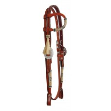 COUNTRY LEGEND ONE EAR DOUBLE PLY HEADSTALL WITH BRAIDED RAWHIDE AND THROAT STRAP