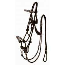 COUNTRY LEGEND ROPE & RAWHIDE BITLESS BRIDLE WITH REINS