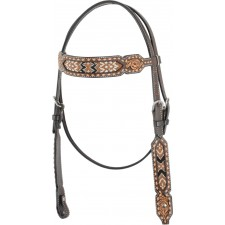 COUNTRY LEGEND TAN BEADED INLAY BROWBAND HEADSTALL