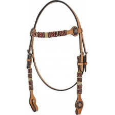 COUNTRY LEGEND RAWHIDE & RED BEADS BROWBAND HEADSTALL