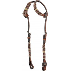 COUNTRY LEGEND RAWHIDE & RED BEADS DOUBLE EAR HEADSTALL