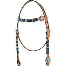 COUNTRY LEGEND RAWHIDE & TURQUOISE BEADS BROWBAND HEADSTALL