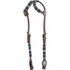 COUNTRY LEGEND RAWHIDE & TURQUOISE BEADS DOUBLE EAR HEADSTALL
