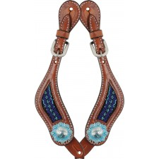 COUNTRY LEGEND RAWHIDE & TURQUOISE BEADSLADIES SPUR STRAPS