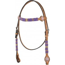 COUNTRY LEGEND PINK BEADS & CRYSTAL CONCHOS BROWBAND HEADSTALL