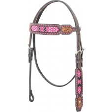 COUNTRY LEGEND PINK BEADED INLAY BROWBAND HEADSTALL