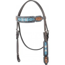 COUNTRY LEGEND TURQUOISE BEADED INLAY BROWBAND HEADSTALL