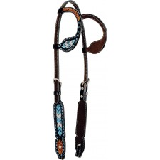 COUNTRY LEGEND TURQUOISE BEADED INLAY DOUBLE EAR HEADSTALL