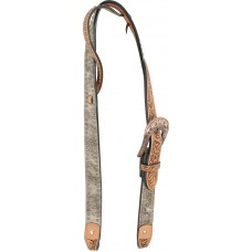 COUNTRY LEGEND BELT HEADSTALL - BRINDLE COWHIDE CARVING WITH SPOTS