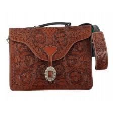 TWO-TONE LAPTOP BAG WITH CARVING AND BERRY EDGE BUCKLE