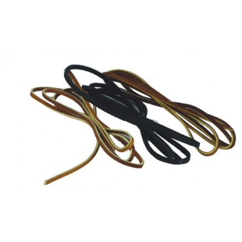 """LEATHER LACES - 1/8"""" WIDE, BROWN ALUM TAN (YELLOW CENTER)"""